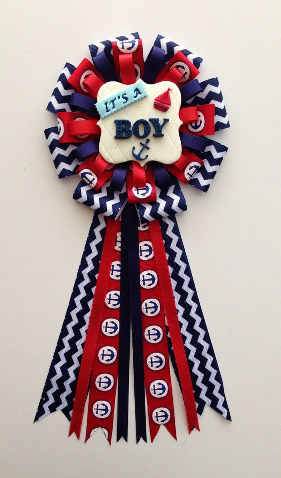 Ahoy Baby Boy Theme Mom to Be Corsage. Mum/Pin by LezlieZDesigns