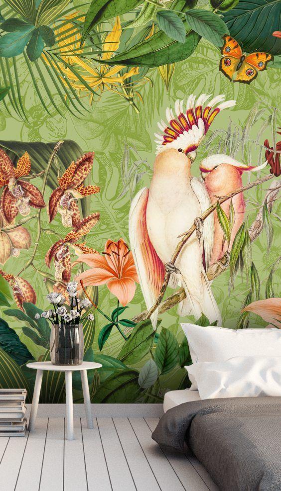 Cockatoos And Butterflies Mural By Andrea Haase Wallsauce Nz Mural Wallpaper Photo Wall Design Cheap Wall Decor