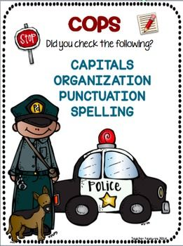 """FREEBIE!!An important component of the writing process is proofreading. The COPS strategy will help your students remember what they should check (Capitalization, Organization, Punctuation, Spelling). COPS is a mnemonic device that kids love to use. (I usually say, """"Let's make sure the Sentence Cops don't need to come."""")Enjoy!Graphics: MelonheadzTeacher Featureshttps://www.facebook.com/TeacherFeaturesFunhttp://teacherfeaturesfun.blogspot.com"""