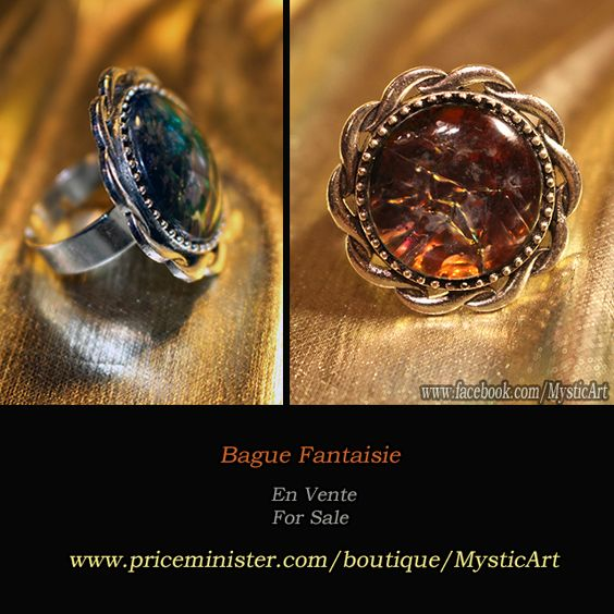 Bague Fantaisie Argenté (Ajustable) Reflets Orange/Jaune