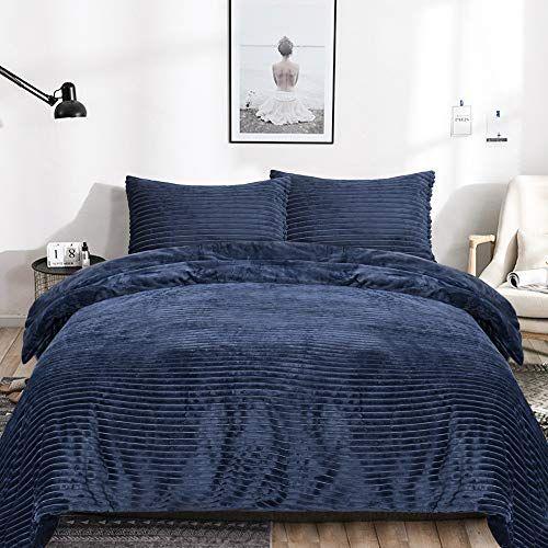 Emme Velvet Flannel Duvet Cover Twin Set 2 Pieces Reversible Bed Blanket Fashion Striped Comforter Cover Set In 2021 Comforter Cover Flannel Duvet Cover Flannel Duvet