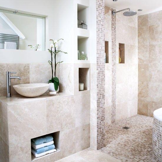 Nagoya storage unit white neutral bathroom tile for Neutral bathroom tile designs