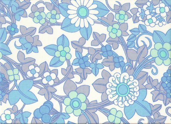 Blue Flower Pattern Vintage Textile