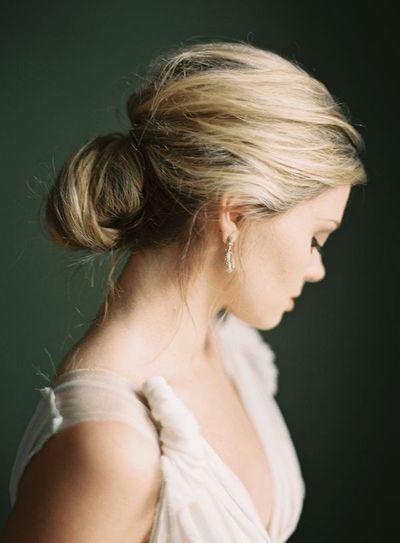 slightly messy, super soft wedding hair up do