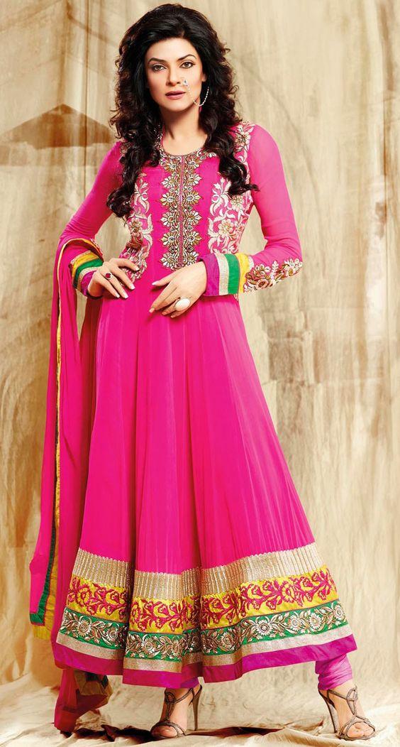 Designer Pink Faux Georgette Bollywood Anarkali Suit - IG8527 USD $ 119.42