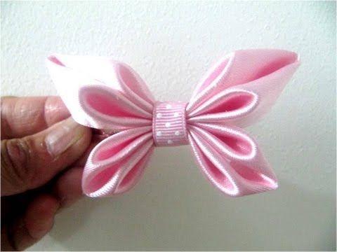 getlinkyoutube.com-Moños para el cabello en cintas diseño mariposa