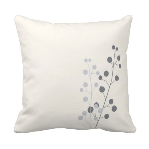 Modern Berries and Branches Throw Pillows