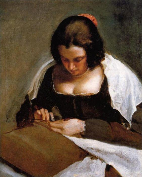 Diego Velázquez (Spanish 1559–1660) [Baroque, Portrait] The Needlewoman, 1635-1643.