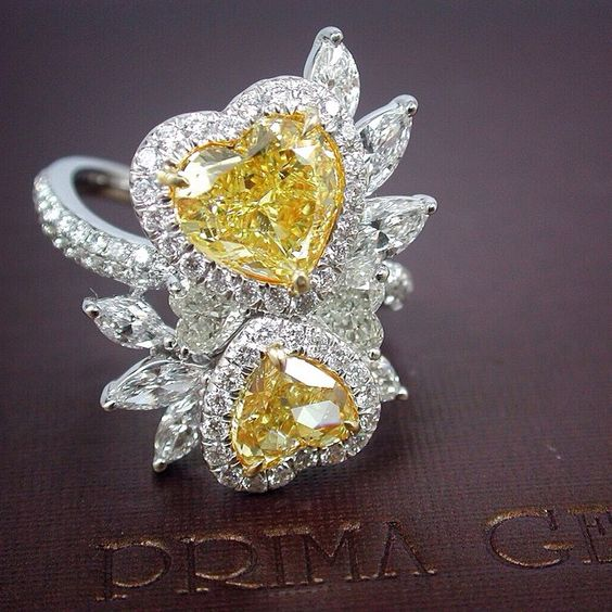 Natural Fancy Intense Yellow Ring by Prima Gems.