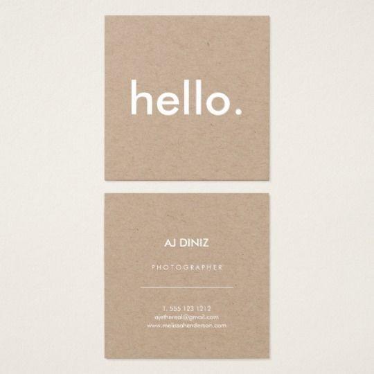 Minimalist Rustic Kraft Hello Square Business Card Zazzle Com