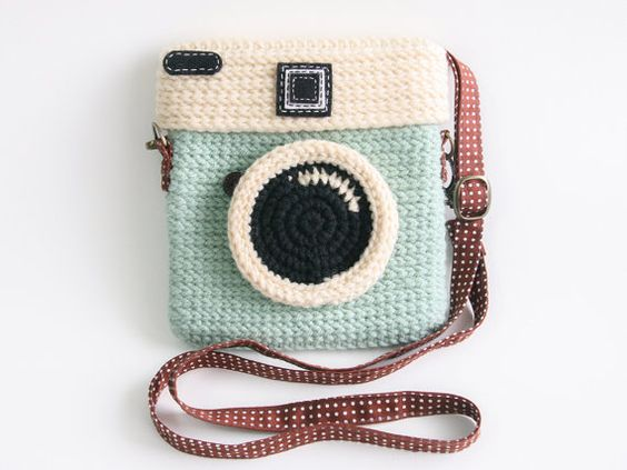 Crochet sac appareil photo Lomo Diana / Pastel Color par meemanan