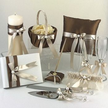 Free shipping 8pcs set Shimmering Gold Wedding Collection Set In Chocolate Satin With Ribbon And Pearl JHTZ1046