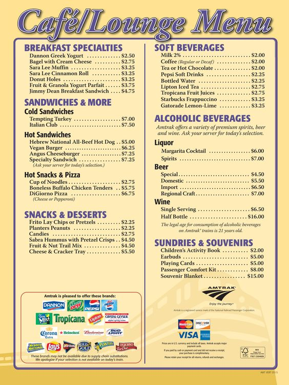 Amtrak Southwest Chief Cafe Menu
