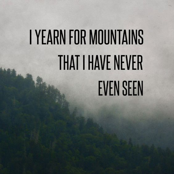 Mountain Yearning Print, Woodsy Fog Photo,Travel Quote, Typography Print, Dark…: