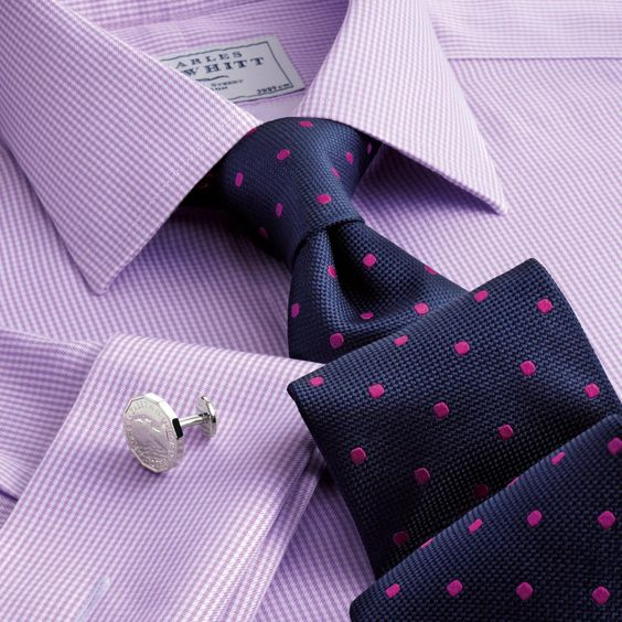 Classic navy and magenta classic spot tie | Classic ties from Charles Tyrwhitt, Jermyn Street, London