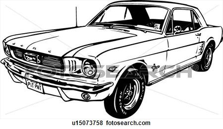 abbildung, lineart, klassische, auto, auto, auto Große Clipart Grafik anschauen