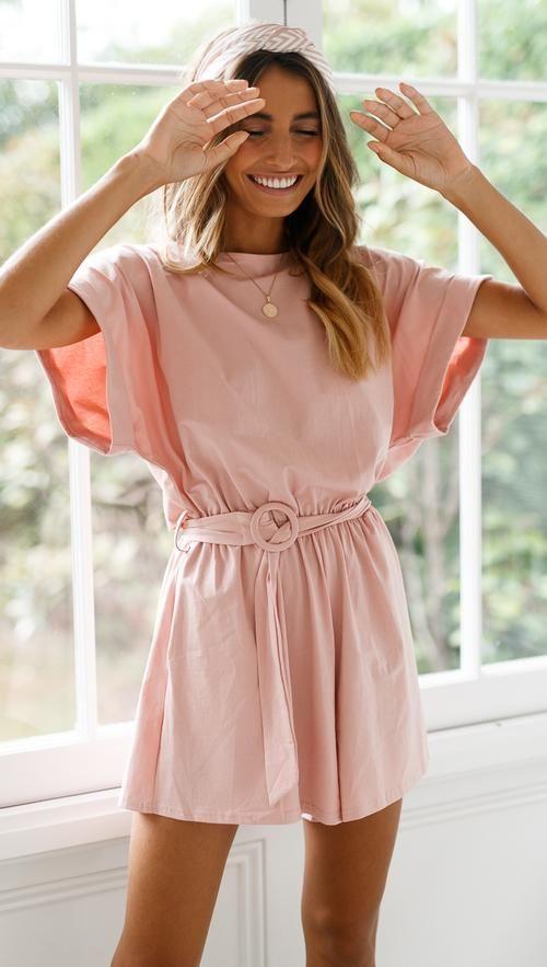 Lucia Playsuit Blush Blush Dress Casual Colorful Dresses Casual Blush Colored Dress