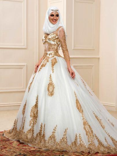 Sequined Appliques Muslim Wedding Dress