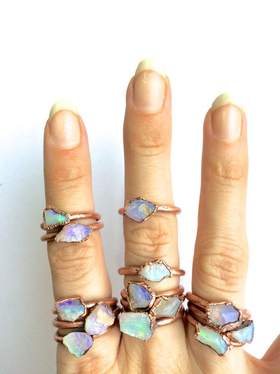 Opal rock ring Australian opal ring Rough opal ring by HAWKHOUSE