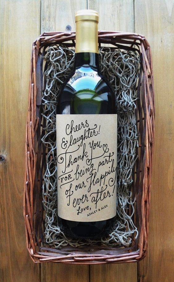 Thank You Wine Labels  Wedding Wine Label  Wedding by KaspiParty