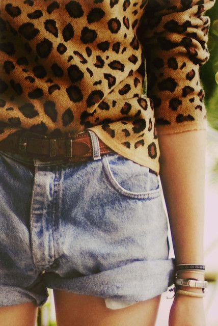 leopard sweater. high-waisted cutoffs.