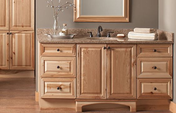 Natural hickory raised panel doors semi custom bathroom for Semi custom bathroom cabinets