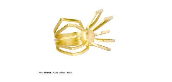 Anel SPIDER - Ouro amarelo - fosco
