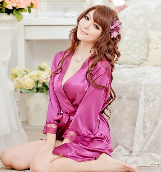 Women/'s Satin Silk Lace Robe Kimono Gown Nightdress With G-strings Sleepwear PJS