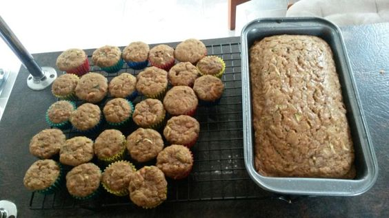 Adapted to suit the maintenance phase of the fast metabolism diet. 1 cup each grated carrot and grated zucchini, 3 eggs, 1 cup xylitol, 1/3 cup raw honey, 1 cup coconut oil,  1 tablespoon vanilla,  2 cups sprouted wheat flour,  1/2 cup tapioca flour, 1/2 cup sorghum flour, 1 tablespoon cinnemon, 1/4 teaspoon baking powder, 1 teaspoon baking soda, 1 teaspoon salt, 1/4 teaspoon ground ginger, a pinch each ground nutmeg and cloves.
