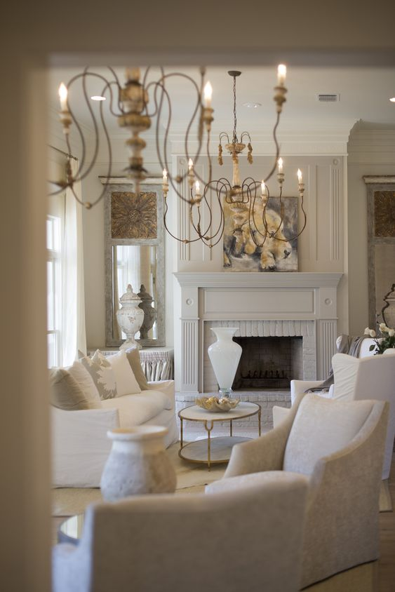 Aidan Gray French chandeliers in white living space. VICTORIA CIRCLE PROJECT - WHITE BUNGALOW