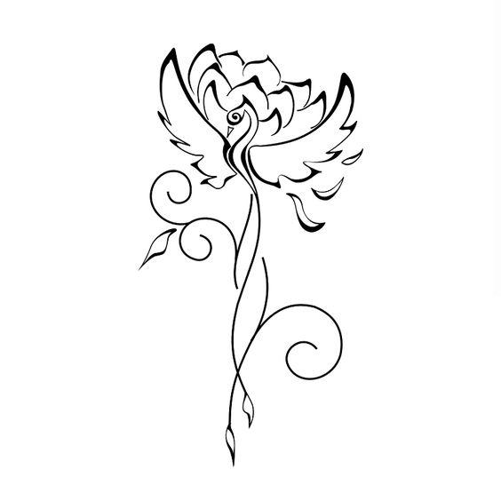 Phoenix & Loto… Un loto crece del lodo profundo. Cuanto más profunda es el barro el más grande y más bella la flor. El Fénix renace y resucitado de las cenizas de su vida pasada!
