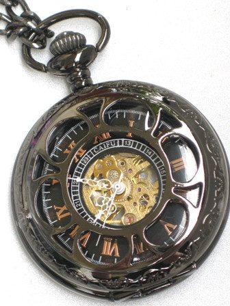 Steampunk - VINTAGE FLOWER Pocket Watch - Mechanical- Jet Black - Necklace - Jet Black - Neo Victorian - GlazedBlackCherry