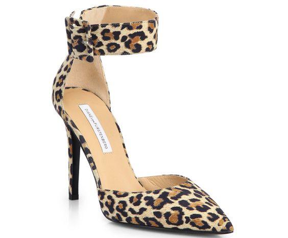 Diane von Furstenberg Buckie Leopard-Print Suede Pumps