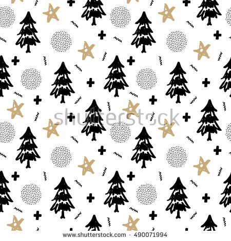 Christmas pattern with tree, holly, snow and stars. Pop Art Style. Vector illustration. Template for Greeting Scrapbooking, Congratulations, Invitations.