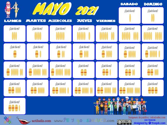 Calendario palillos infantil ABN – Mayo 2021