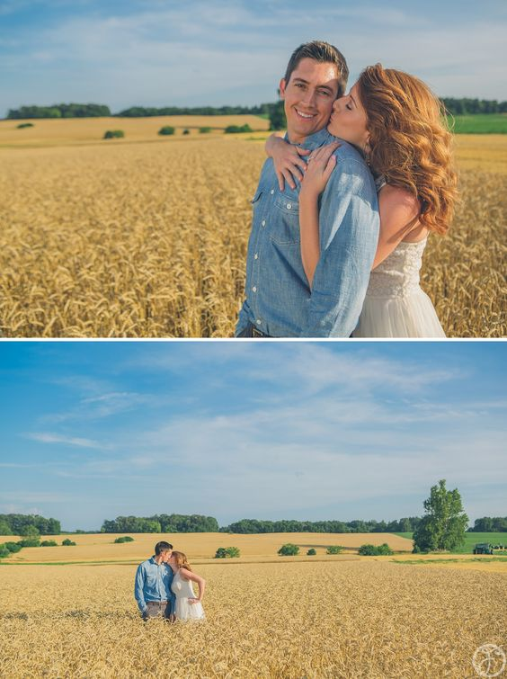 wheat field country engagement photos - st louis wedding photographers
