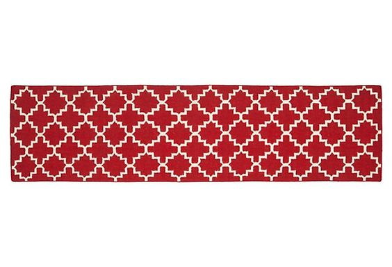 One Kings Lane - Long on Style - Sabine Dhurrie, Red/Ivory