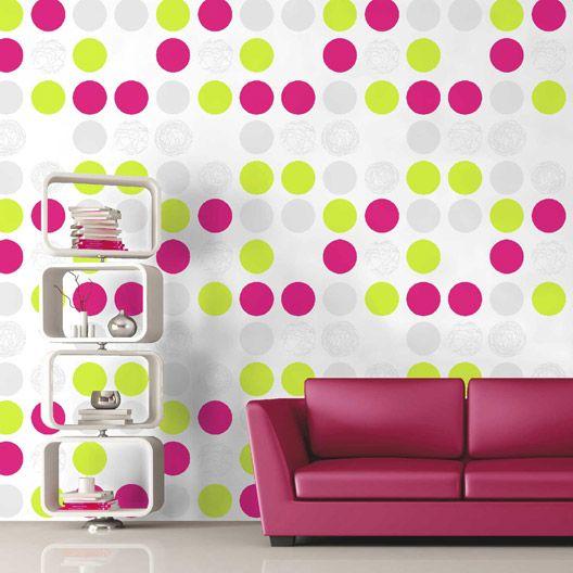 papier peint expans sur papier inspire pois vert pistache n 4 larg m d co peint. Black Bedroom Furniture Sets. Home Design Ideas