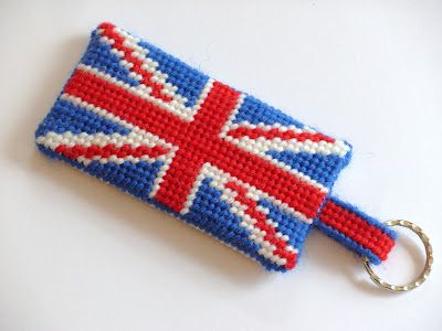 A tapestry Union Jack key fob/luggage label,