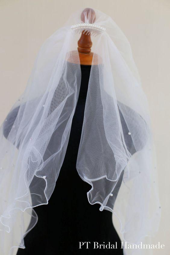 Crystals Wedding Veil-Two Layer Bridal by PTBridalHandMade on Etsy