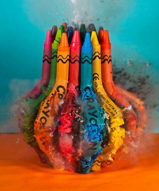 Crayons + firecracker.
