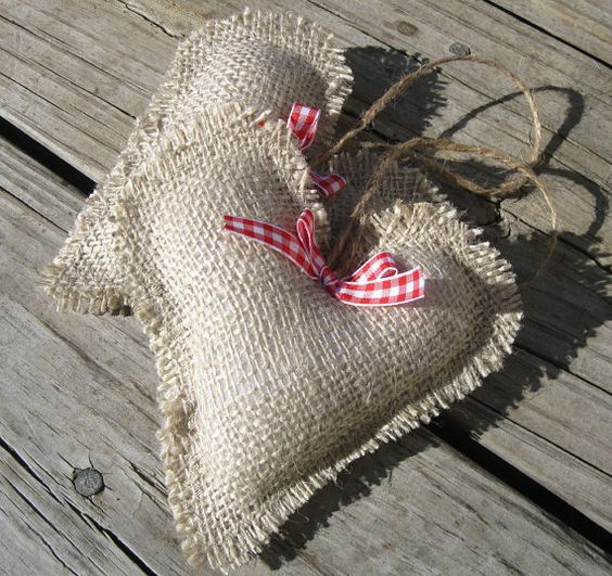 Rustic burlap hearts   #Valentines Day #heart