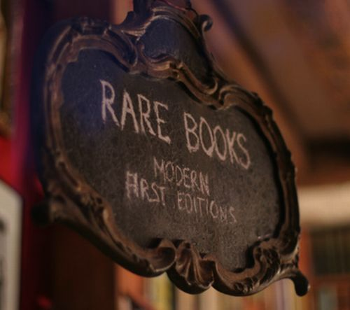 sign for a collection of rare, first editions