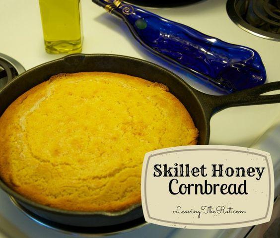 Skillet honey Cornbread http://leavingtherut.com/skillet-honey ...