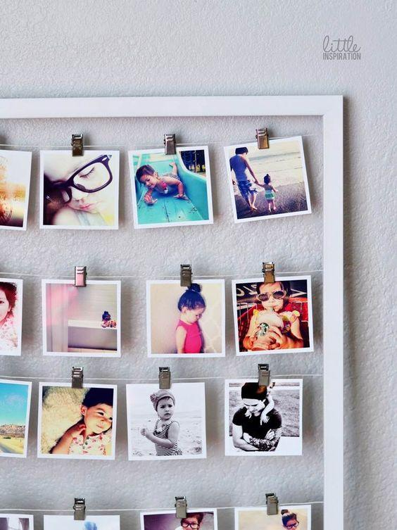 pêle mêle photos de fillette à faire soi-même - un cadre blanc, du fil à coudre et des pinces métalliques