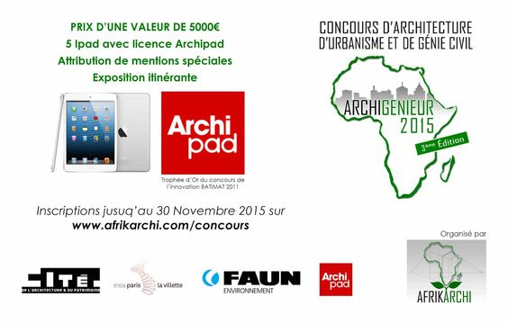 Participez au Concours Int. ARCHIGENIEUR AFRIQUE et tentez de gagner des Ipad avec Archipad