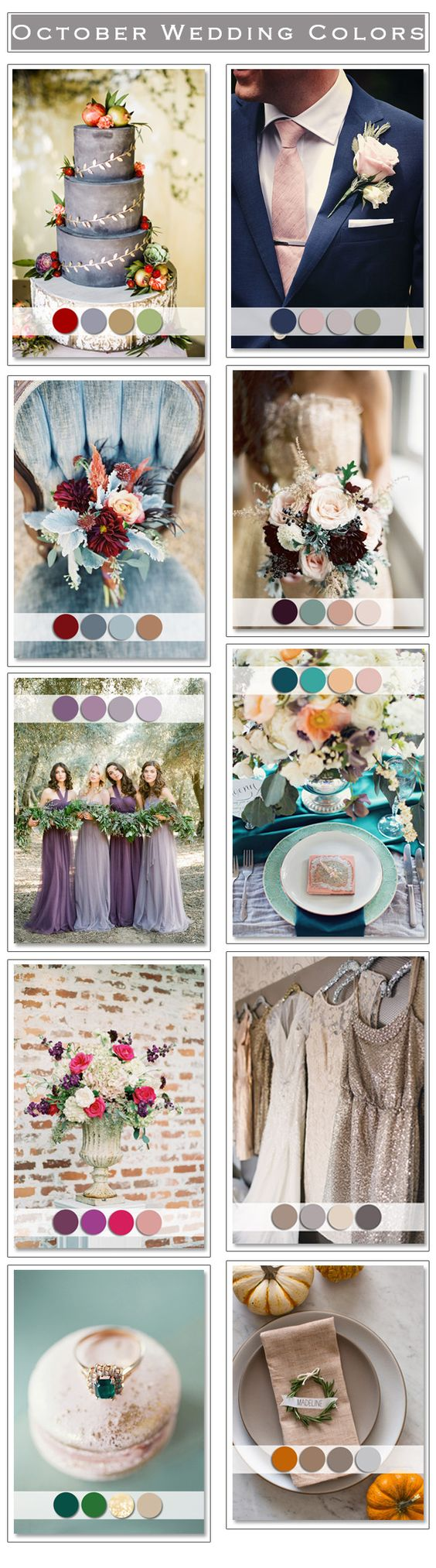the bottom left picture- green and nude and gold hints. so perfect for my summer/autumn cottage wedding