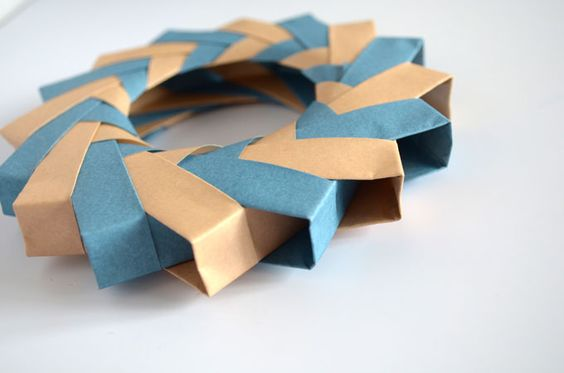 Making an origami wreath.