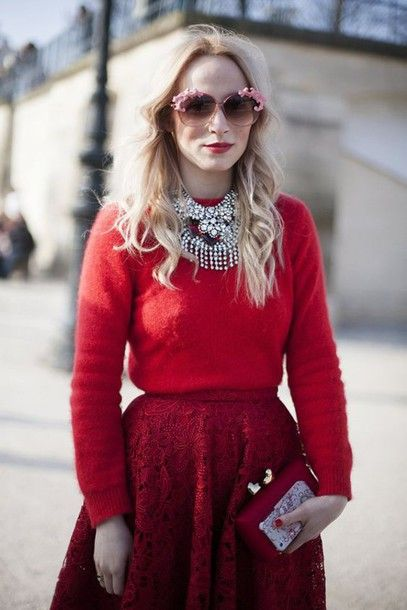 Skirt: red red sweater boho jewelry statement necklace silver jewelry pink sunglasses lace