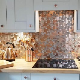 P Span The On Trend Colour Of The Season Our New Lunar Copper Metal Glass Modular Mosaic Will Kitchen Wall Tiles Modern Kitchen Mosaic Mosaic Tile Kitchen